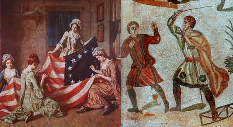 Collage of Betsy Ross and Slaves
